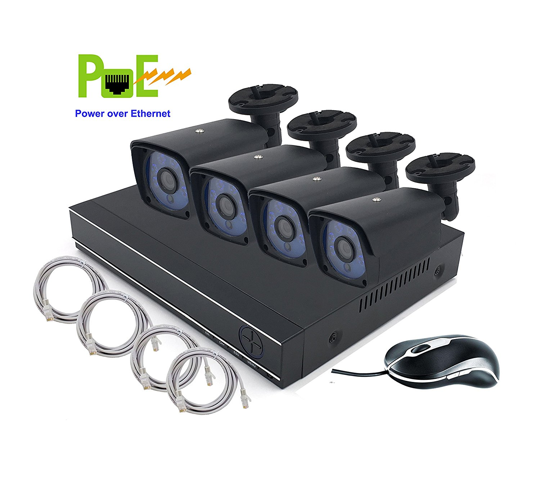 HD 720p CMOS Sensor POE 4 Cameras Security System Kit