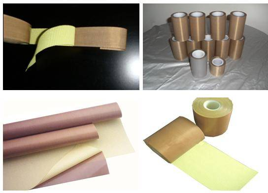 PTFE coated fabric with adhesive tape
