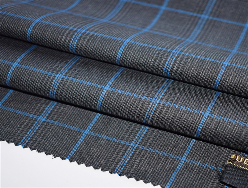 Fashion Modern Checked Worsted Wool Suiting Fabric