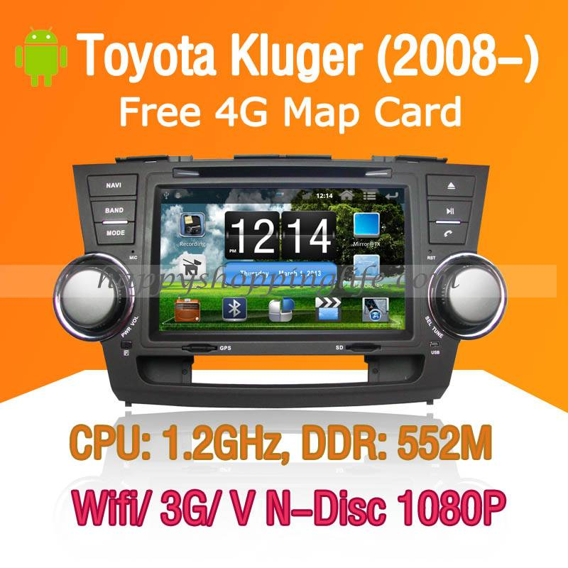 Android Car DVD Player Toyota Kluger - GPS Navigation Wifi 3G