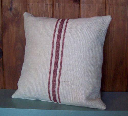 French Vintage stripe linen printed decorative pillow