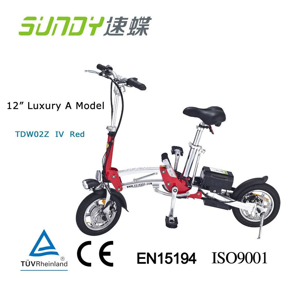 12-inch Disc Brake Mini Folding Electric Bicycle-red