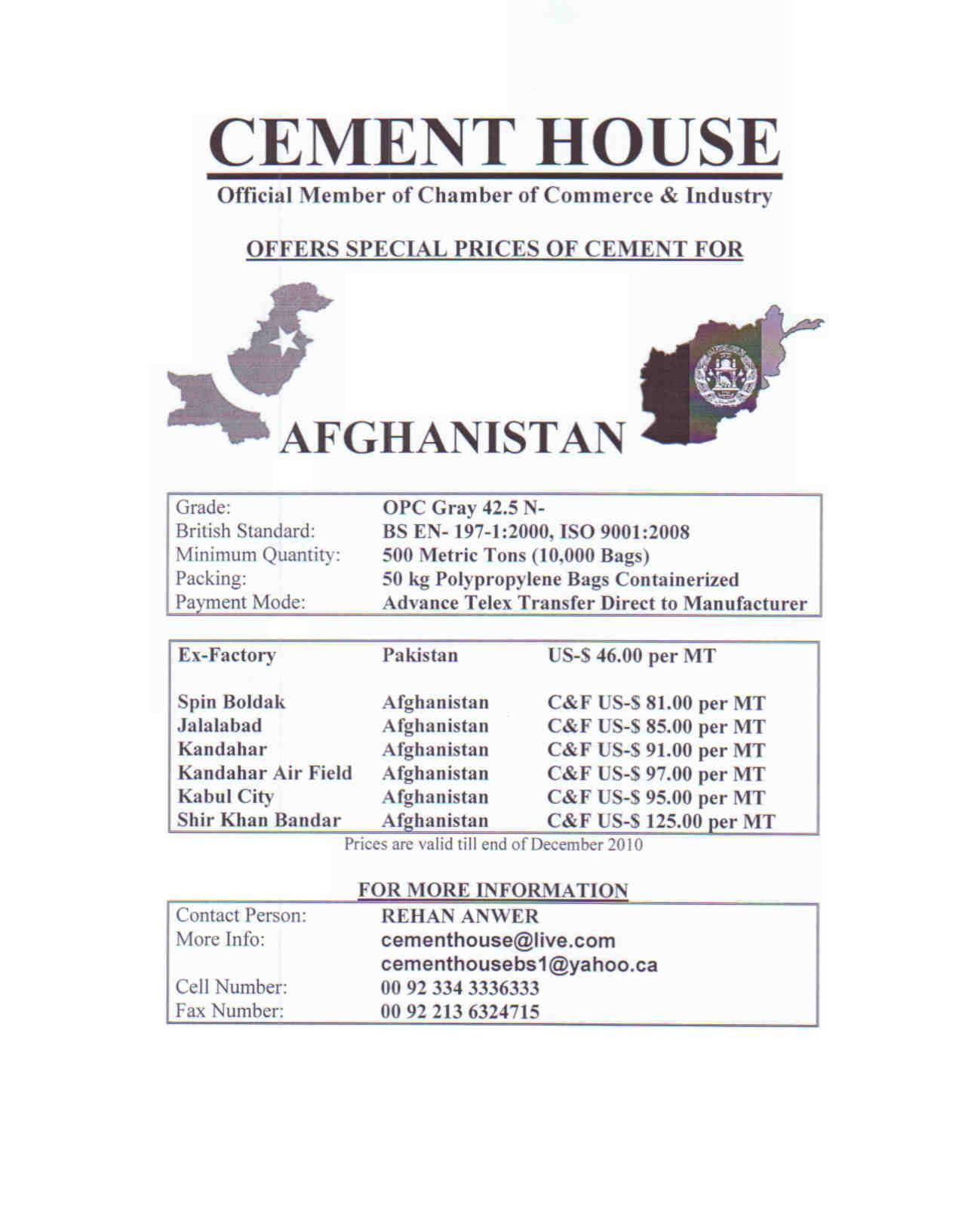 CEMENT FOR AFGHANISTAN