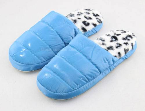 Ladies quilted effect mule slippers