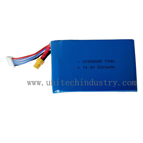 High rate Drone RC li-polymer battery pack 10C continues discharge UT895585 5000mAh 14.8V