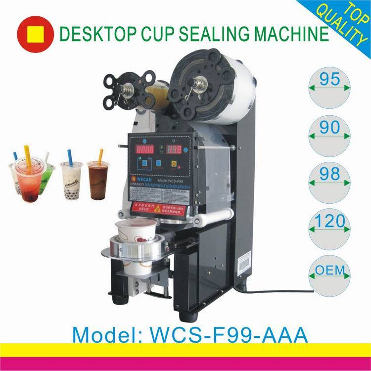 CE approved plastic bubble tea cup sealing machine for boba tea juice/automatic plastic cup sealer