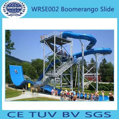 Shanghai modern outdoor boomerango slides water aqua theme park amusement rides for sale