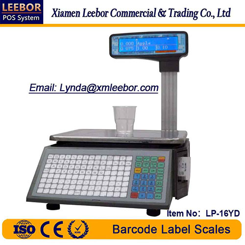 Barcode Label Printing Scale, Supermarket Thermal Printer Multi-language LCD Display Weighing Scales