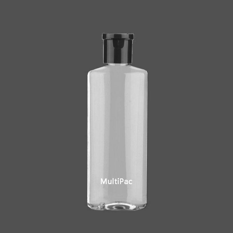 200ml flat oval PET bottle with flip top cap, for toner, cleansing oil
