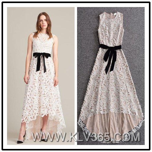 European Style Short Front Long Back Design Ladies Elegant Lace Party Dress