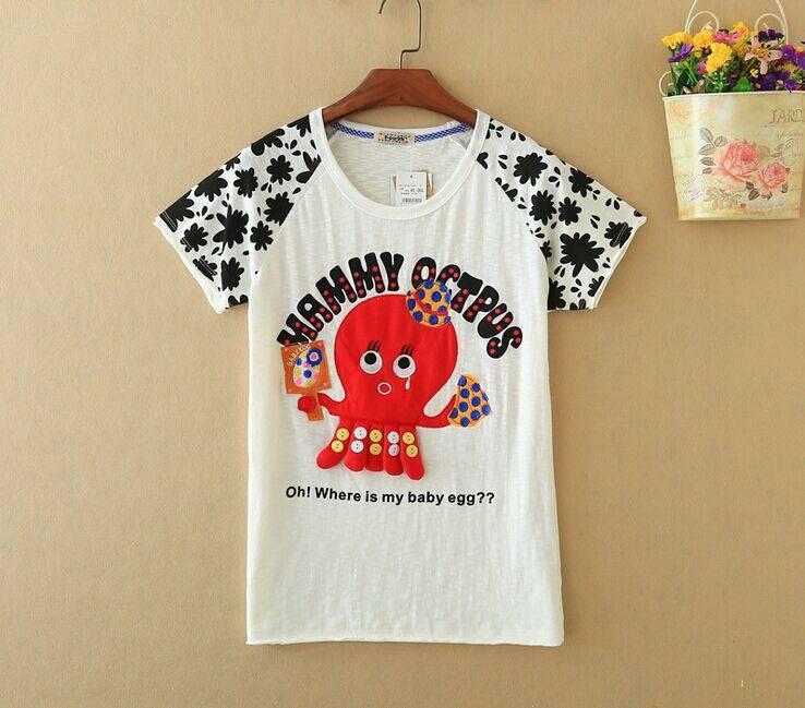 2015 New Lady Octopus Short SleeveT-Shirt