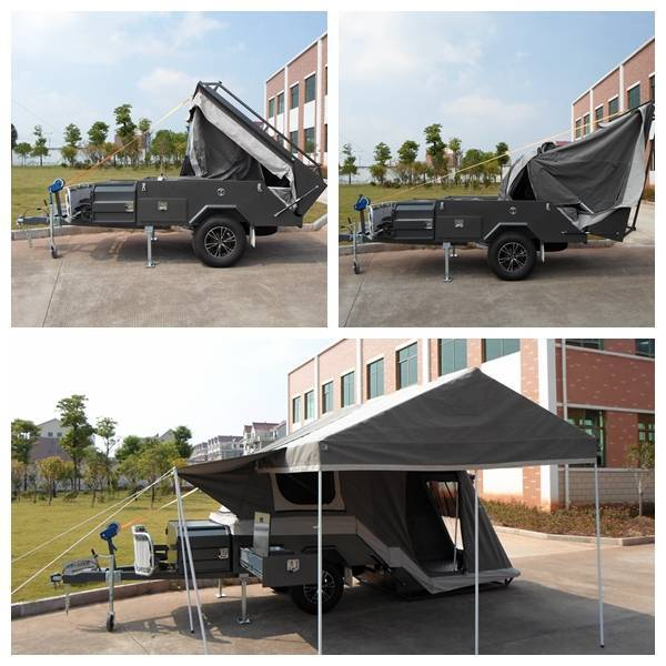 ADRs 62 Off road backward folding hard floor camping trailer with annex room skirt and awning