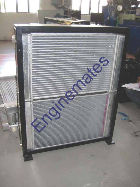 Radiator cum charge air cooler for road machinery