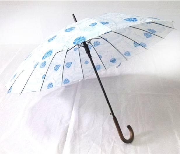 YS-1041Wood Handle Printed Polyester Straight Umbrella