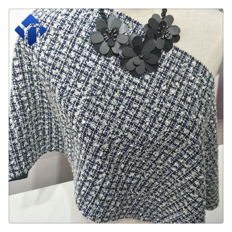 Woven polyester acrylic cotton spandex fancy yarn tweed fabric for garment