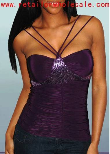 Retail Romantic Double Straps Purple Crinkled Camisoles with Sequins