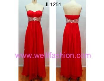 Long Pleated Beading Chiffon Evening Dresses J1251