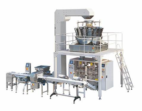 Automatic multihead weigher packing line with turntable and metal detector