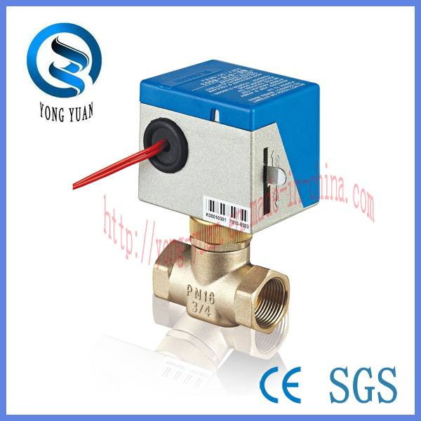 Electric Actuator Valve 2-Way Brass Motorized Valve For Fan Coil (BS-818-20)