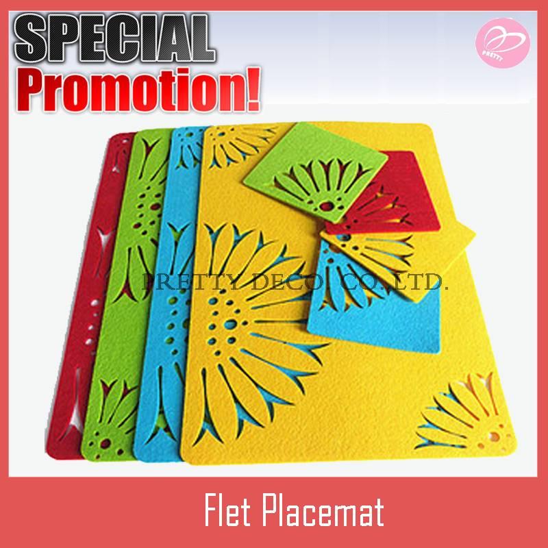 Flower style Polyester felt placemat,coaster set