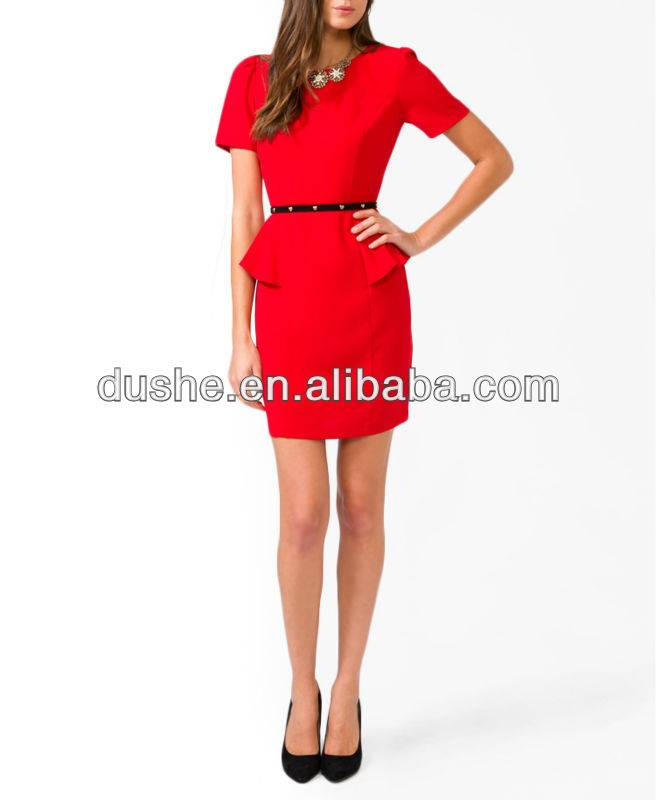 ladies red formal dresses for office S20253
