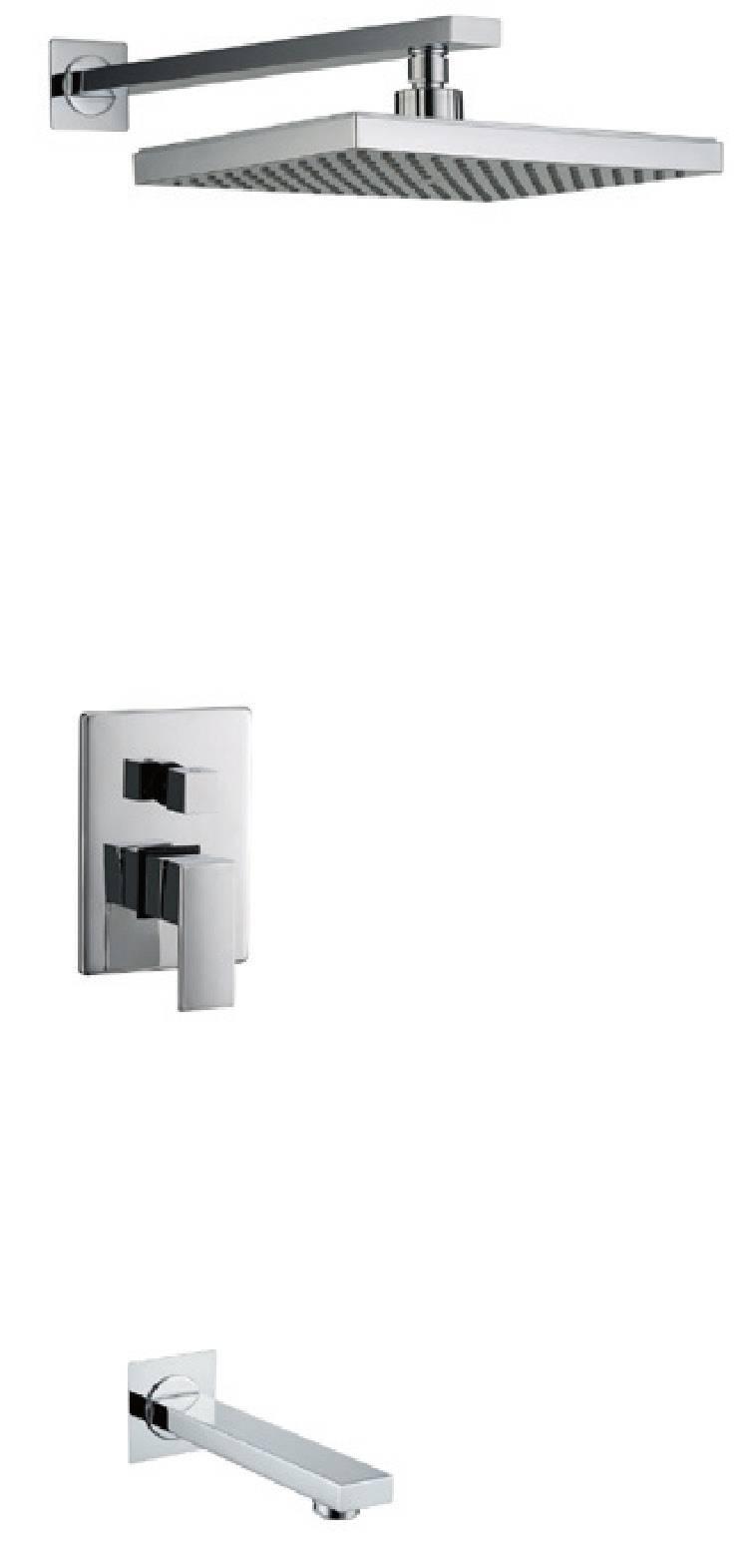 Modern chrome brass in-wall bathroom concealed shower set