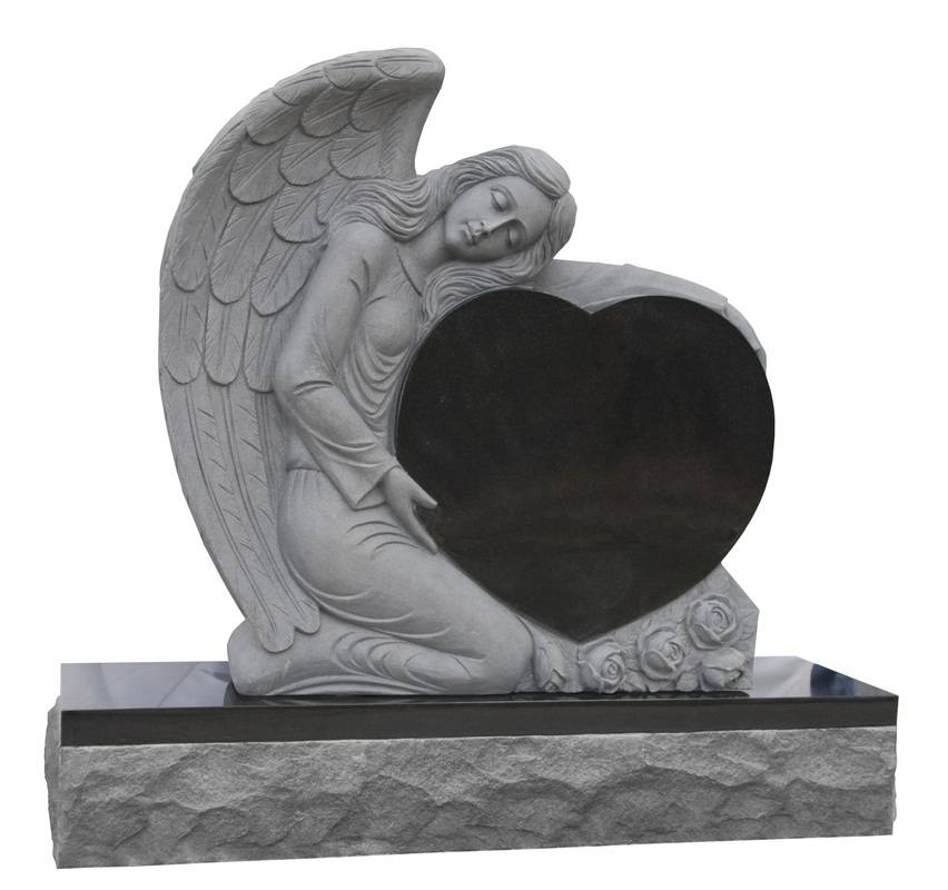 American style gray granite tombstones with angel heart