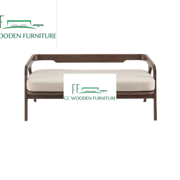 Modern Nordic Black Walnut solid wood tatami bench for living room