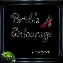 Bride entourage hotfix iron on rhinestone transfer wholesale