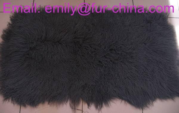 Dyed Charcoal Grey Tibet Lamb Fur Plate