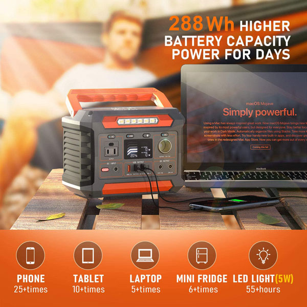 260W portable solar generator with 5W wireless charging and 3W LED lights for outdoor camping