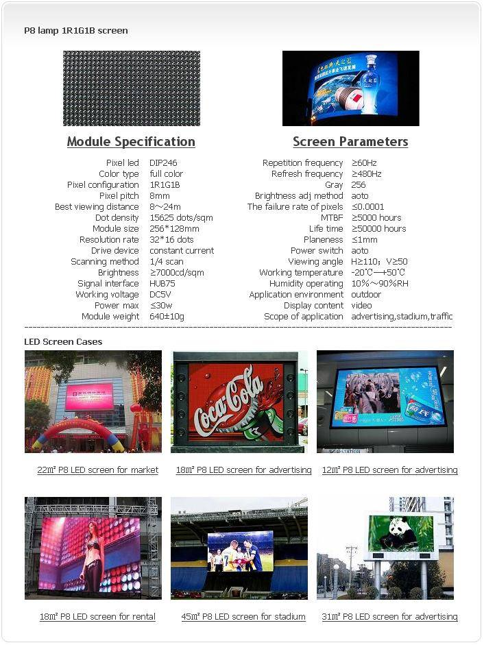 Selling Outdoor P8 LAMP 1R1G1B LED screen
