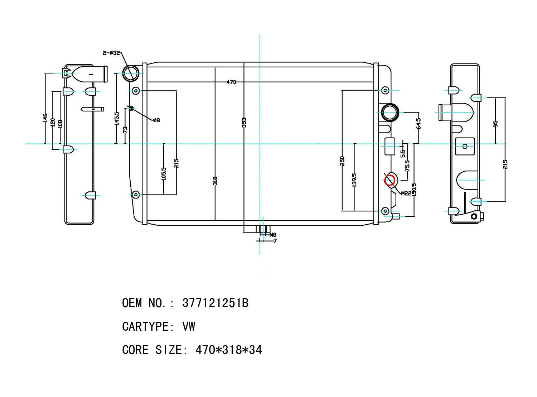 Volkswagen radiator OEM: 377121251B