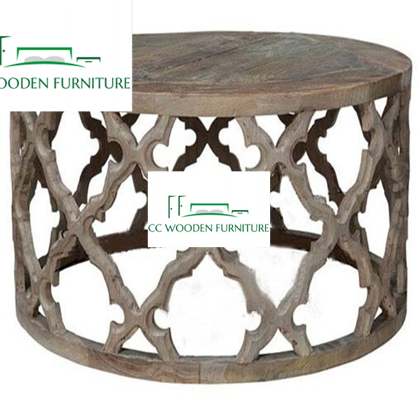 French style wood round coffee table oak wooden coffee table