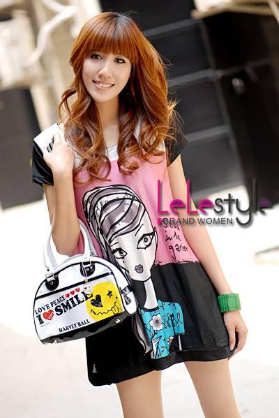 Women's Wear Woman Dress Long Shirt DIY Girl Printing T-shirt Pink