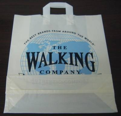 HDPE White Printed Plastic Soft loop handle Shopping bag