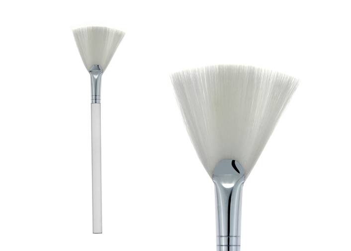 Fan Shaped Contour Blush Brush Slightness Plastic Handle Nylon Hair Metal Ferrule