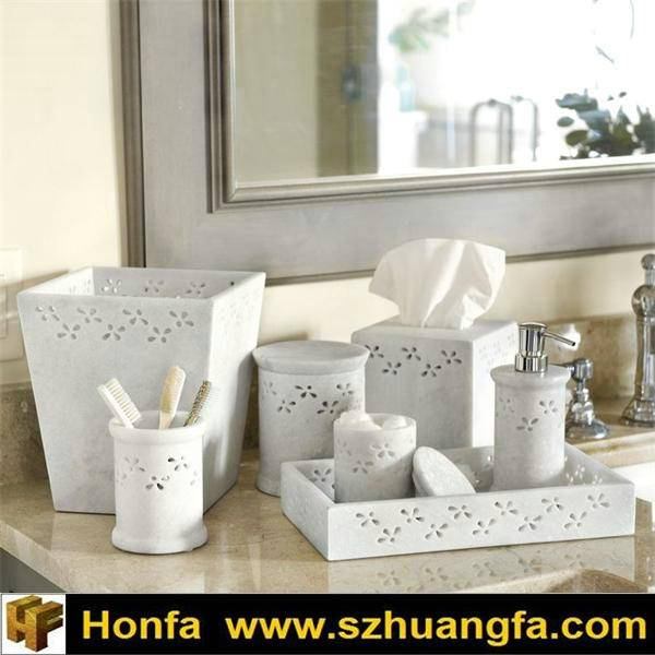 7 PCS Bathroom Accessory Marble Made