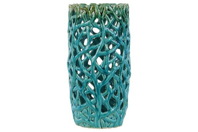 Ceramic Cylindrical Vase with Uneven Lip and Cutout Design Body