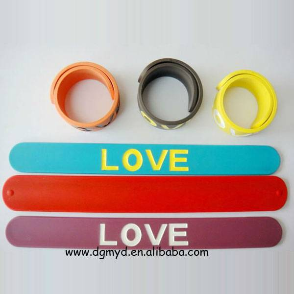 LOVE peace silicone slap bracelet for promotion
