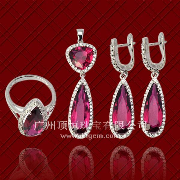 2014 Wholesale 925 Sterling Silver Jewelry Set With Pear Shape Tourmaline Stone