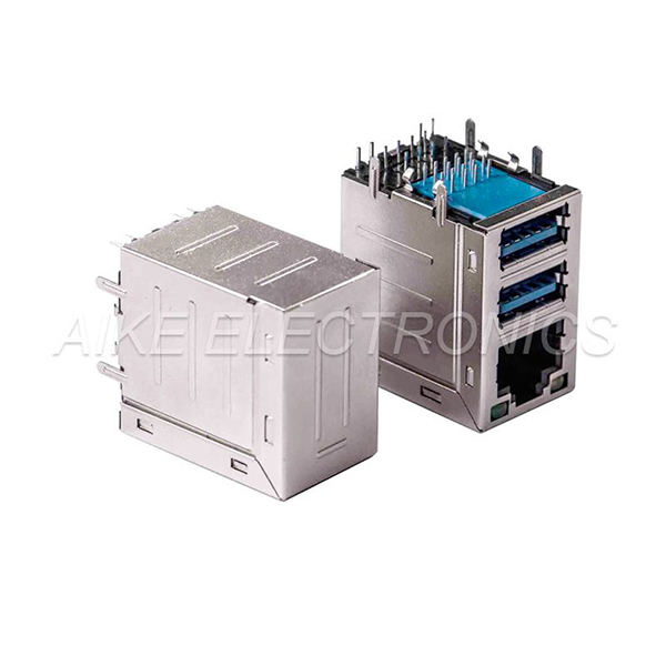 Connector RJ45 female 8P8C,Tab up, DIP TYPE With shell & LED + Double-deck connector USB 3.0 A Type