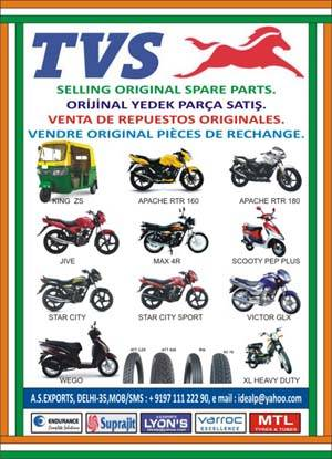 TVS MOTORCYCLE SPARE PARTS AND TVS TYRE & TUBES.