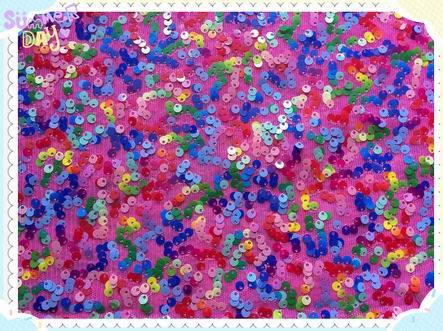 colorful sequin embroidery on mesh fabric