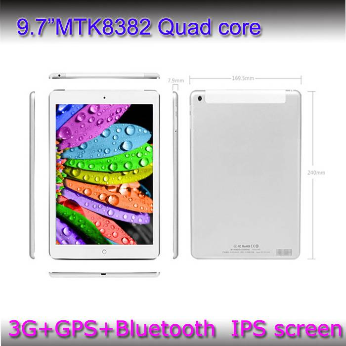 9.7 Android 4.4 Tablet PC, MTK8382, Quad Core, Supports GPS/BT/3G, WCDMA 850/1900/2100MHz