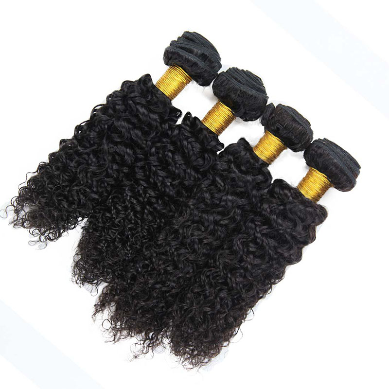 9A Brazilian Jerry Curly Human Virgin Hair Weave 3 Bundles With Lace Closure