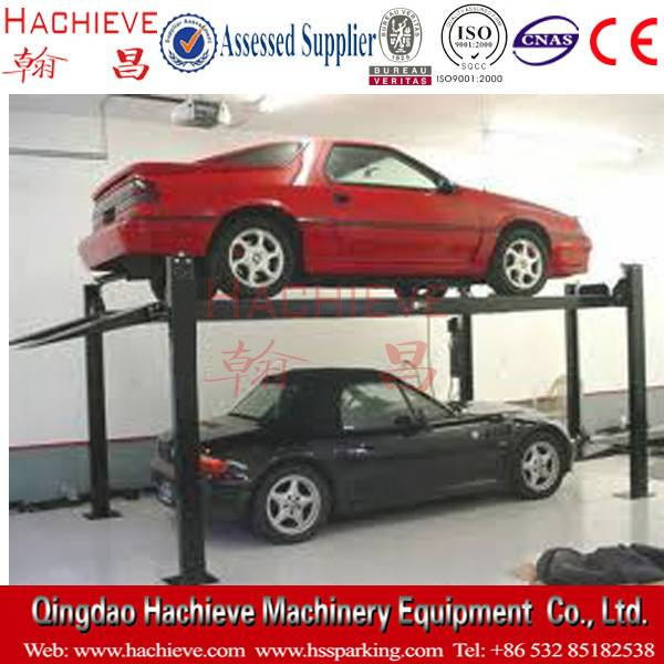 used 4 post double car parking hydraulic car lift for sale