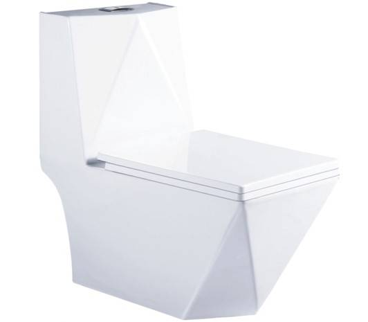Hydrocone type square one piece toilet bowl