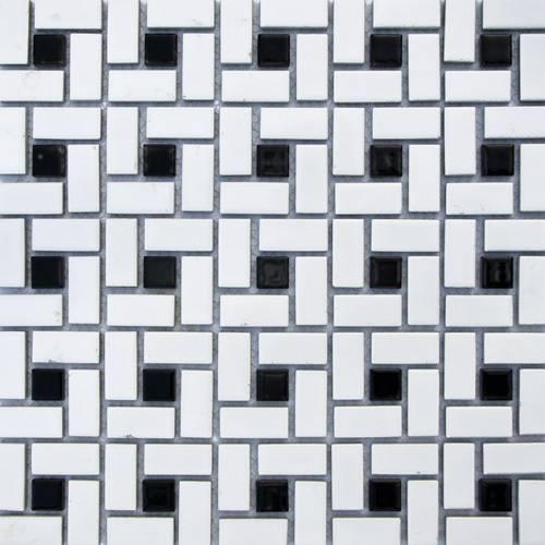 Black & white Pinwheel Ceramic mosaic