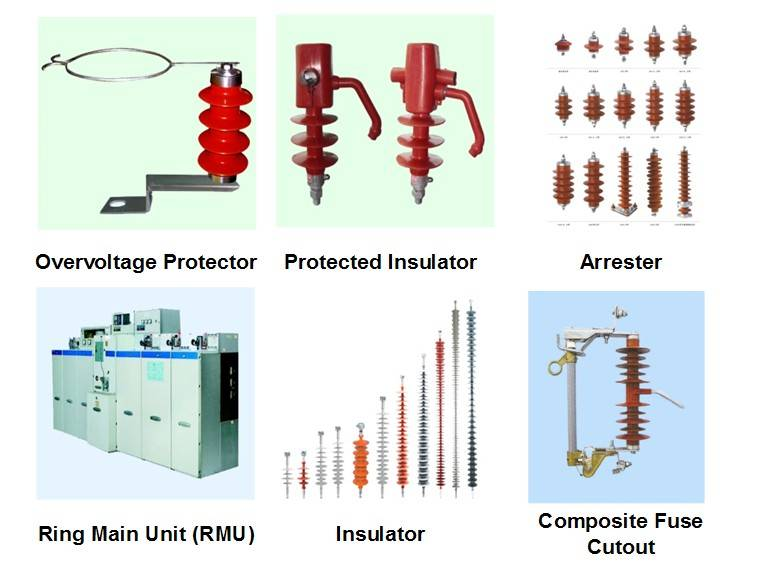 Arester, Overvoltage Protector, Lightning Protected insulator, Ring Main Unit, RMU, cable accessorie